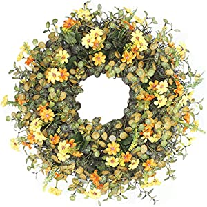 MomokoPeng 16 Inches Blossom Fall Front Door Wreath - Lush and Beautiful Spring Wreath,Indoor/Outdoor Use (Mangnolia Wreath) 97