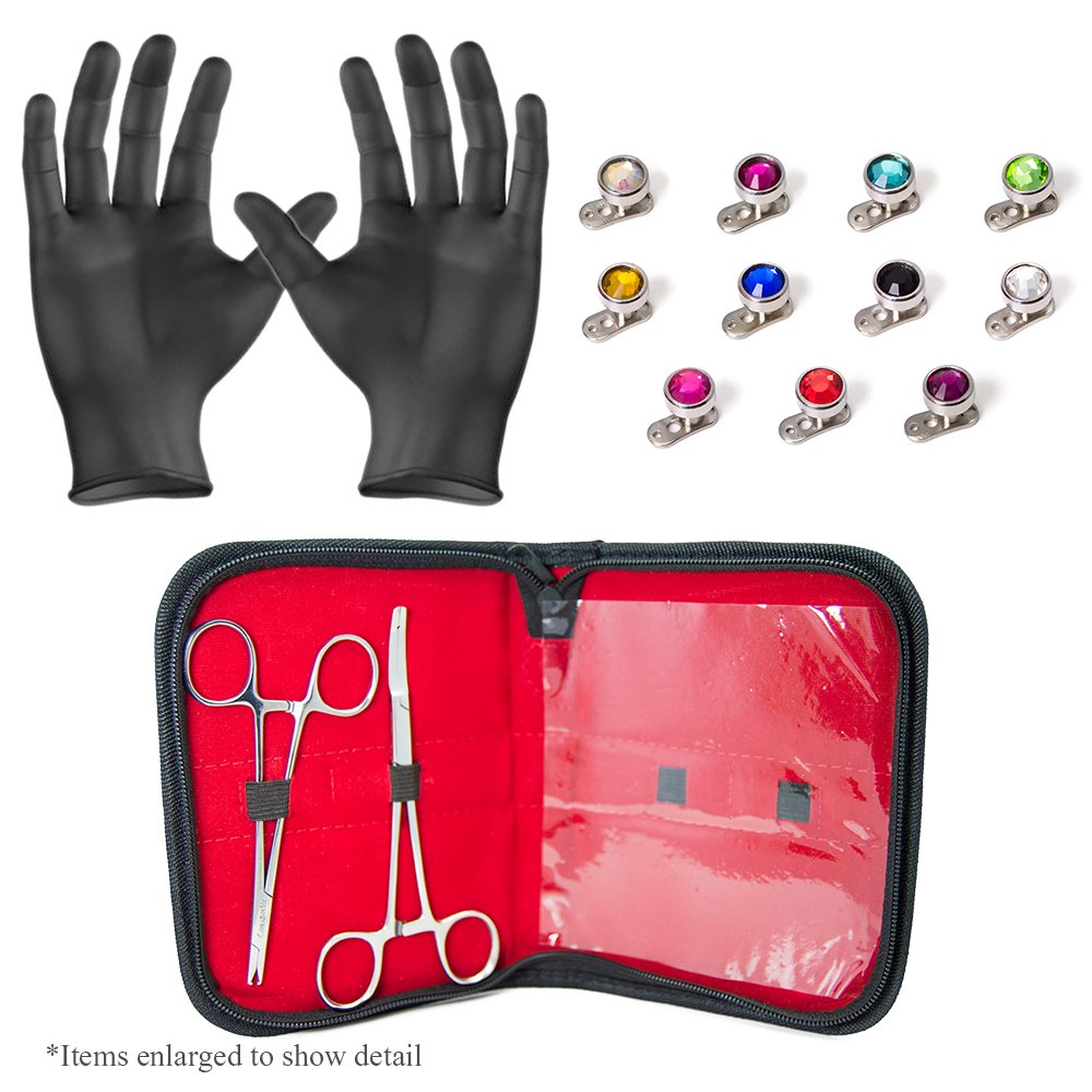 Dermal Body Piercing Kit - 2 Stainless Steel Forceps with 11 Dermal Tops with Colored Gems and 11 316L Anchors Piercing Jewelry + Free Gloves and Carrying Pouch - PK009