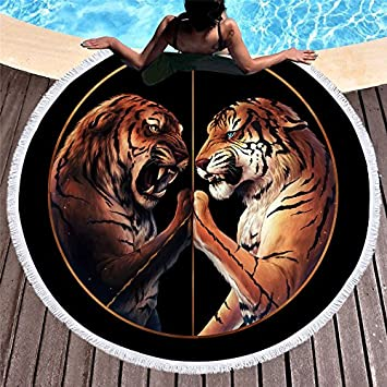 Lolyze Tiger - Toalla de Playa Redonda de Microfibra, Suave, con Soporte de Tela, 150 x 150 cm: Amazon.es: Hogar