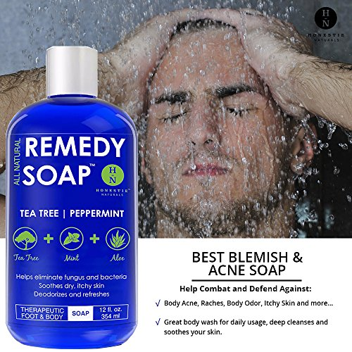 Remedy Antifungal Soap, Helps Wash Away Body Odor, Athlete's Foot, Nail Fungus, Ringworm, Jock Itch, Yeast Infections and Skin Irritations. Refreshing 100% Natural Foot and Body Wash with Tea Tree Oil, Mint & Aloe Therapeutic Cleanser 12 oz