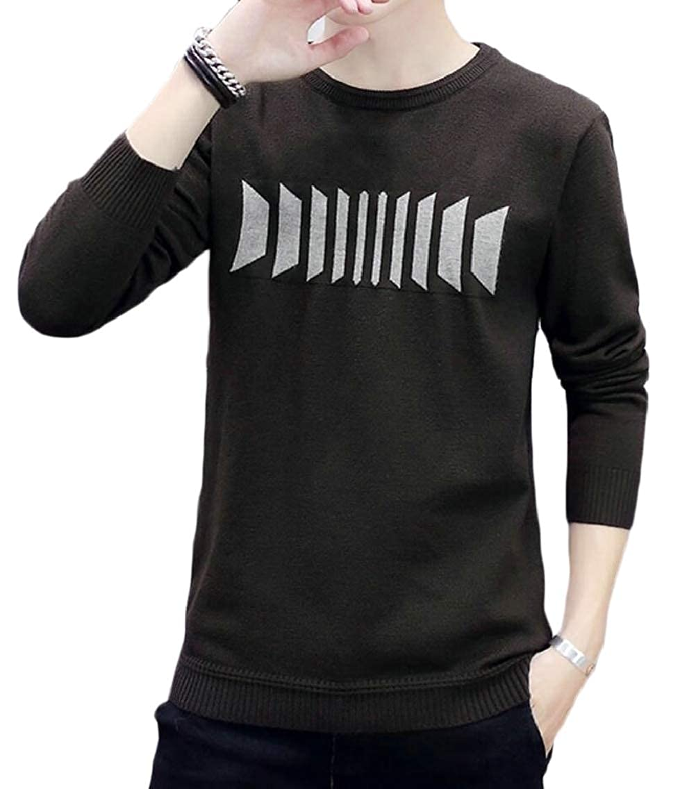 Jmwss QD Mens Leisure Patterns Warm Round Neck Slim Knitting Pullover Sweaters