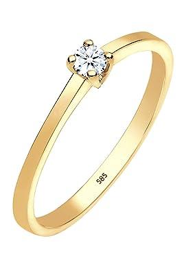 Magnifique bague en or jaune et diamant blanc pour femme - Or Jaune 14 k