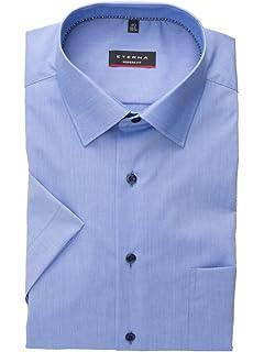 37ac7e8f3fd7 eterna Herrenhemd Kurzarm Modern Fit Blau Business Businesshemd ...