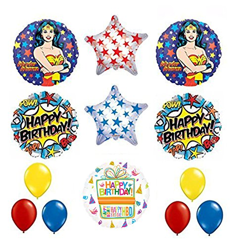 Wonder Woman 13 pc Superhero Birthday Party Supplies and Balloon -