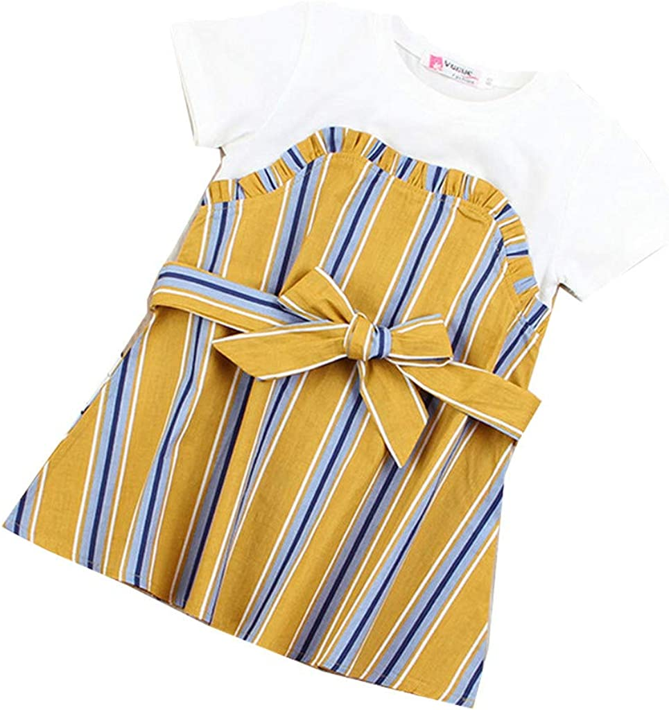 Anxinke Toddlers Girls Short Sleeve Stripes Splicing Bowknot O-Neck Dresses