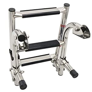 East Kay Stainless Steel 3 Step Folding Boat Ladder Polished 2+1 Step