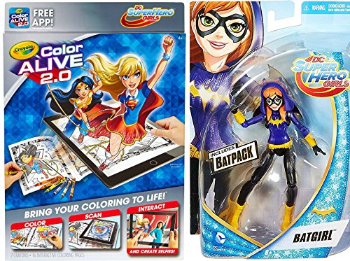 [DC Super Hero Girls Play-Set Crayola Color Alive 2.0 + Batgirl Action Figure Super Hero Fun Set Crayons & Coloring Pages] (Super Villain Poison Ivy Costume)