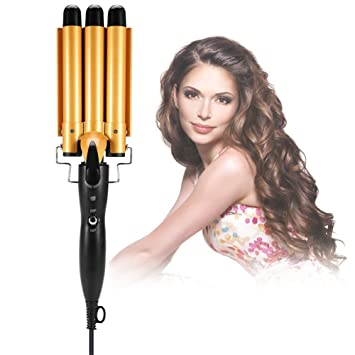Hair Curling Iron Temperature Adjustable 3 Barrels Ceramic Wave Iron Wand Curler Diy Curly Hair Styling Tools 32mm