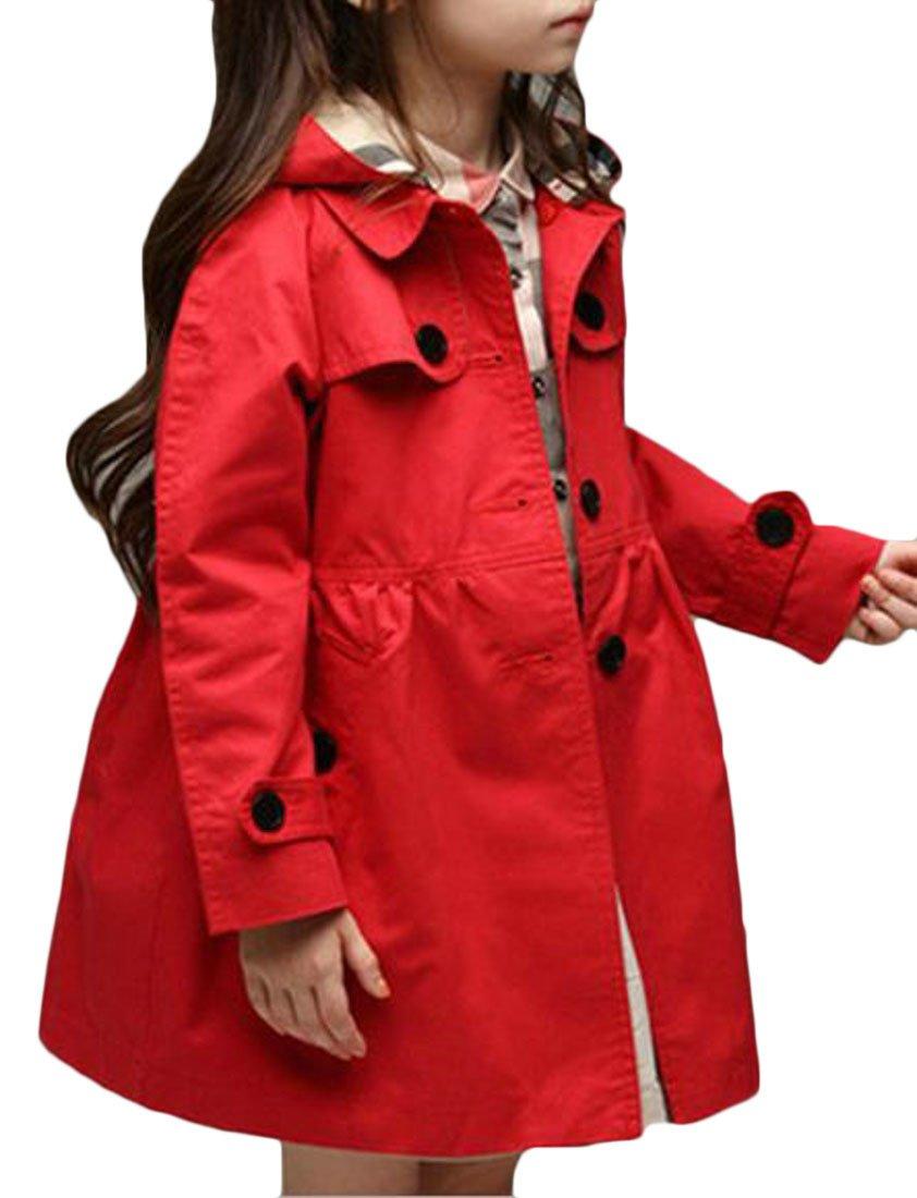 Cromoncent Girl Casual Loose Fit Hooded Single Breasted Outwear Jacket Trench Coat Red 5T by Cromoncent