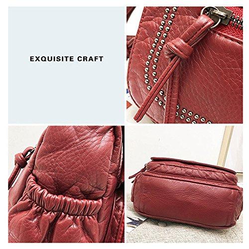 poches Ancien rouge Sac d'épaule Bourse Howoo Voyage pour femmes main à PU Sac Messager Rétro bandoulière Noir Multi filles Sac qIppg5Rwx