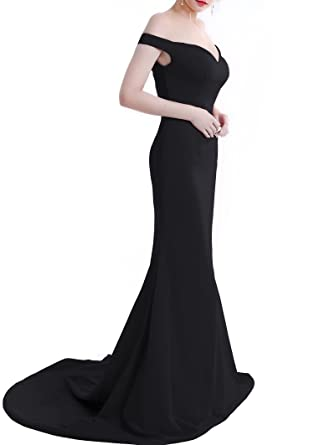 Wemarry Off the Shoulder Mermaid Evening Dress Long for Women Formal Gown  Black Size 0 f23ecc62d