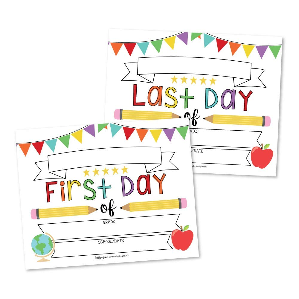 10 White First and Last Day of School Signs, Back to School Photo Booth Prop Rainbow White Color, 1st Preschool, Kindergarten, Pre K Grade, Reusable Reversible Girl Boy Kid Child Year 8x10 Card Stock by Hadley Designs