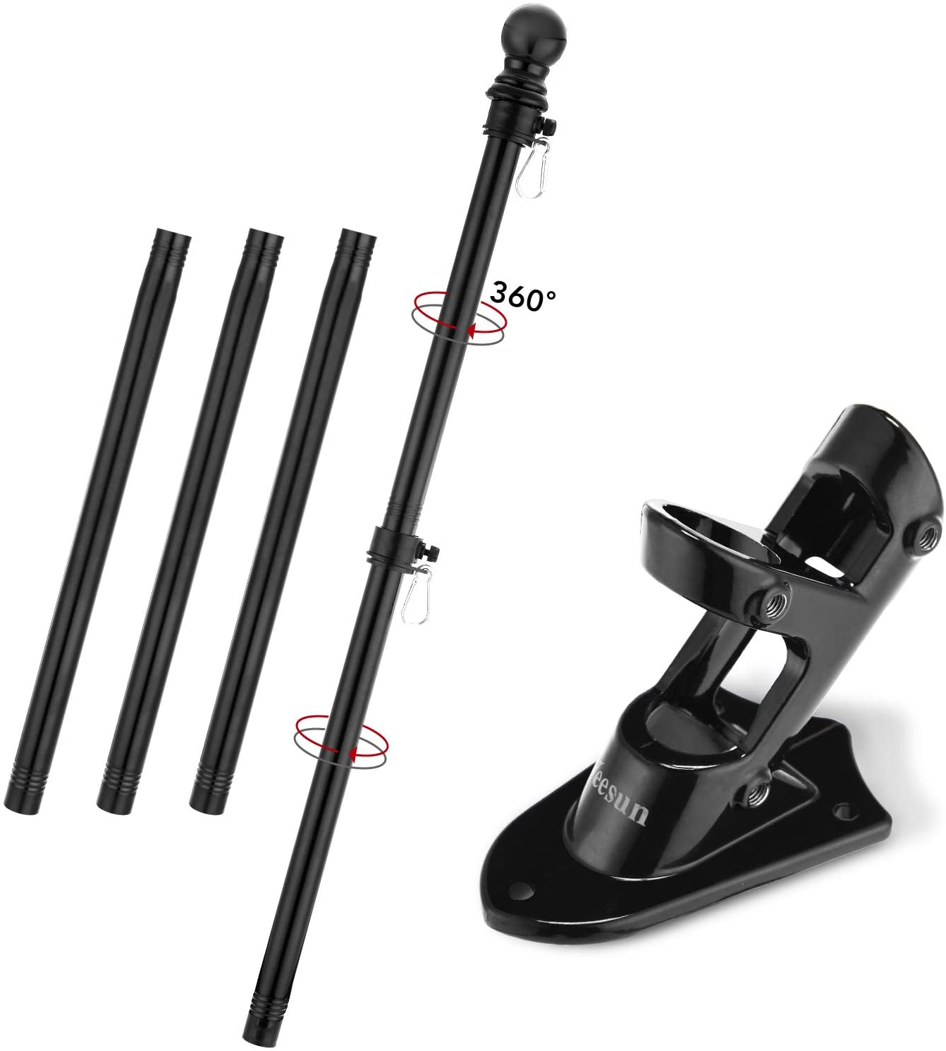 Yeesun Flag Pole,6FT American Flag Pole & Bracket-Flagpoles for 3 x 5 Flags Holder for House Porch & Outdoor,Tangle Free and Wall Mount Flag Pole Kit (Without Flag,Black)