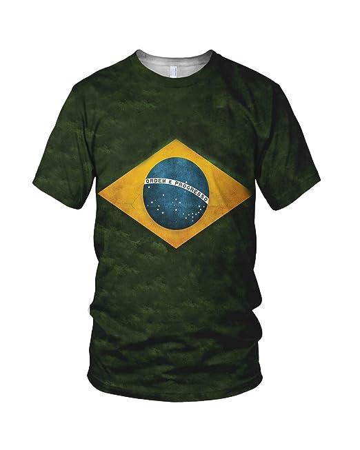 Estampado Entero Brasil Bandera Hombre Moda Camiseta: Amazon.es: Ropa y accesorios
