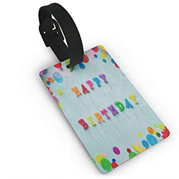 amazon com luggage tags happy birthday pencil polka dot custom
