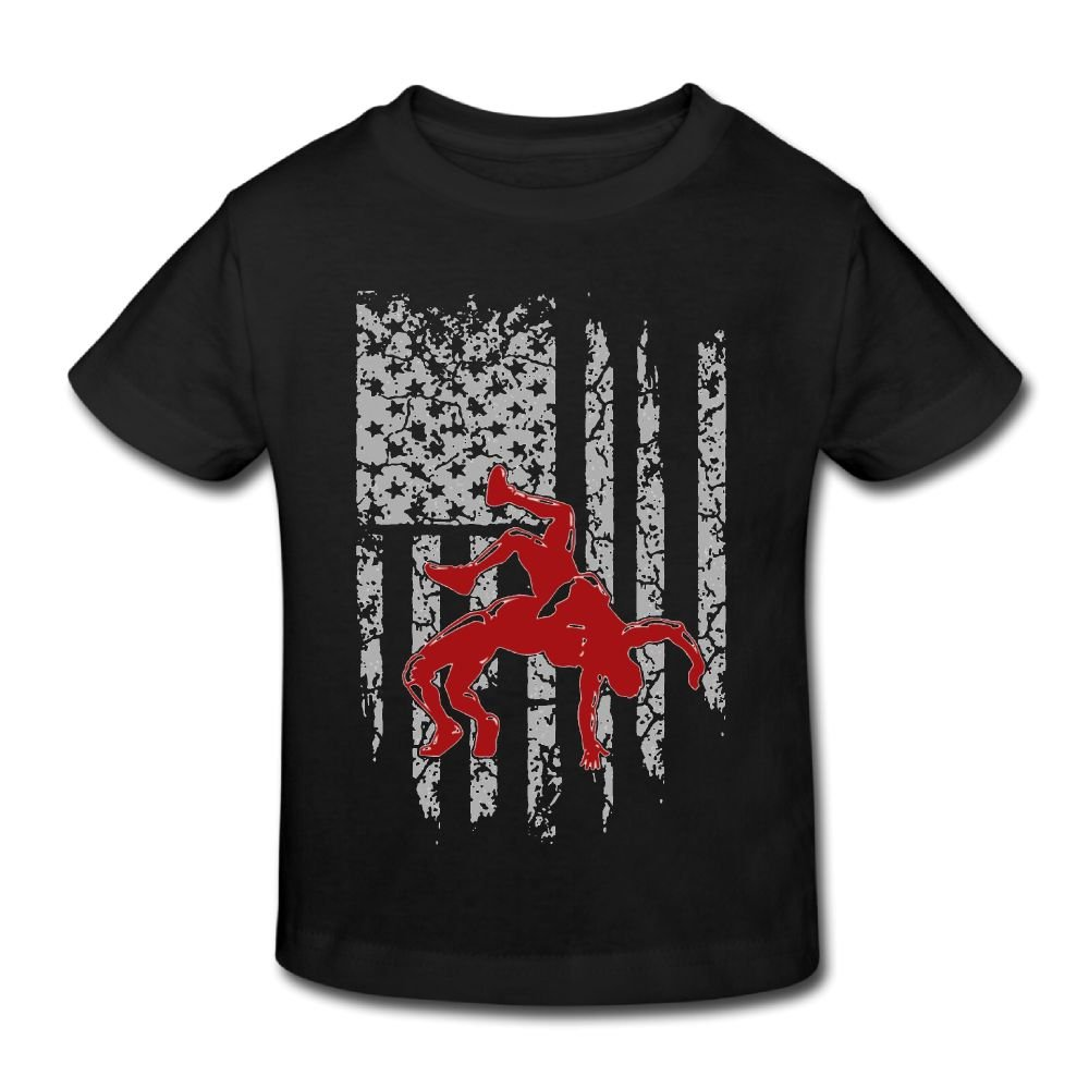 KissKid Wrestling American Flag Infants Short Sleeve Tshirt 5-6 Toddler by KissKid