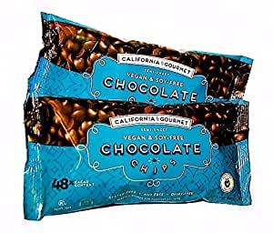 48% Cocoa Vegan Soy Free Chocolate Chips Dairy Free Kosher Gluten Free Nut Free 8 oz. bags ... (2 Pack)