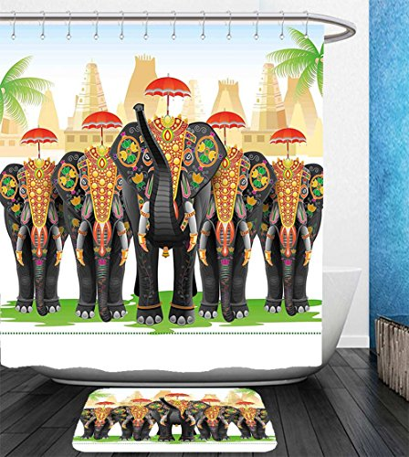 Neo Ethnic Costume (Nalahome Bath Suit: Showercurtain Bathrug Bathtowel Handtowel Ethnic Elephants in Traditional Costumes with Umbrellas Indian Ceremony Ritual Graphic Multicolor)