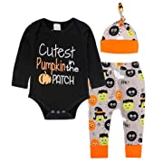 Raptop Halloween Baby Unisex Boys Girls Cutest Pumpkin In The Patch Bodysuits Pumpkin Witch Pants Hat Outfits 3pcs Set Best Halloween Gift (0-3 Months, Black)