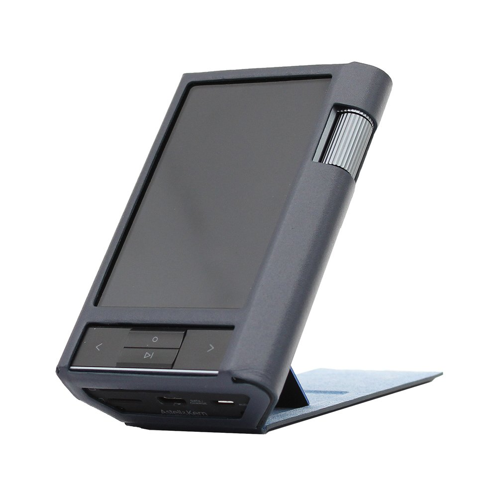 for Astell&Kern KANN, Hand Crafted MITER Leather Case Cover Protector [Patented Stand Case] (Navy)