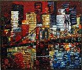 Mozaico - Brooklyn Bridge New York Handmade Mosaic Natural Stones and Marble Artwork Design MS456