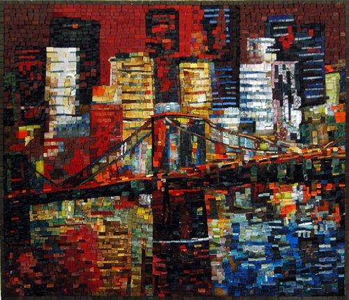 Mozaico - Brooklyn Bridge New York Handmade Mosaic Natural Stones and Marble Artwork Design MS456 by Mozaico