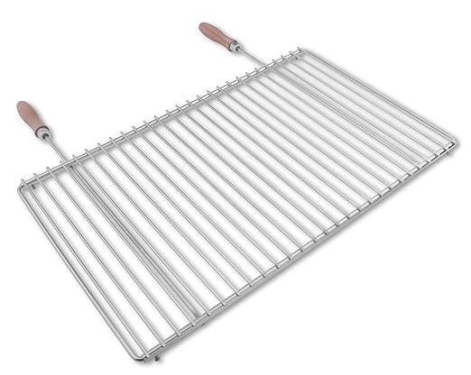 Edelstahl Rost Grillrost rechteckig mit abnehmbaren Griffen 40x30 cm