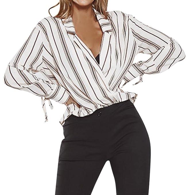Top de Encaje Mujer Blanco Sexy, Covermason Camiseta de Manga Larga con Cuello en V