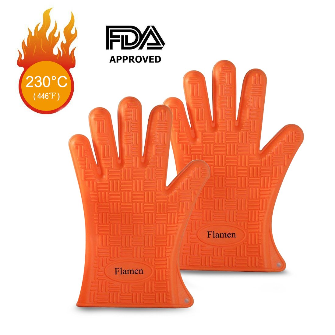 Flamen Premium Heat Resistant Glove, Silicone Cooking Glove for BBQ, Grilling, Baking, Boiling Water Proof, Dishwasher Safe, Heat Resistant Insulated at 446 F (1 Pair) Aspectek HG1901