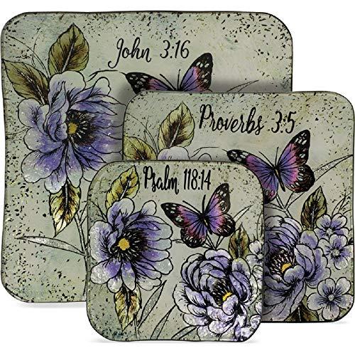 Butterfly Scripture 3 Piece Plate Set