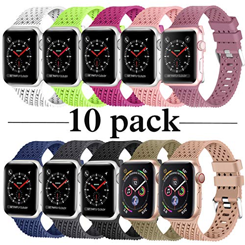 (Lwsengme Compatible with Apple Watch Band (S/M M/L),Choose Color,Soft Rubber Replacement Sport Wristbands Compatible with Apple Watch Series 4/3/2/1(42mm/44mm-10 Pack-Large))