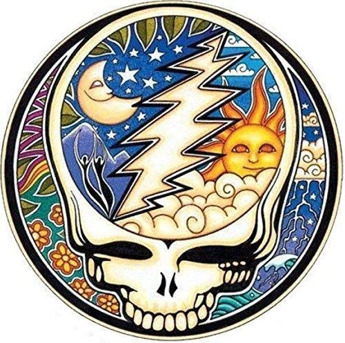 MFX Design Grateful Dead Night and Day Steal Your Face Bumper Sticker Decal Helmet Sticker Decal Vinyl - Made in USA 3.125 in Round