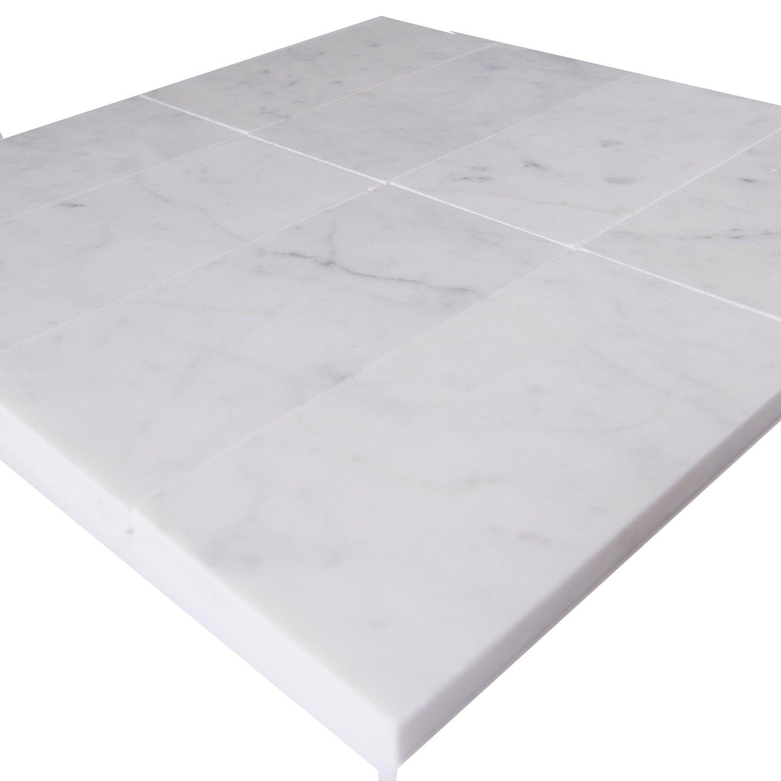 Carrara White Marble Field Tile, CWMT0306-H, 3''X6''X3/8'' Subway Tile, Honed (Box of 40 Pieces)