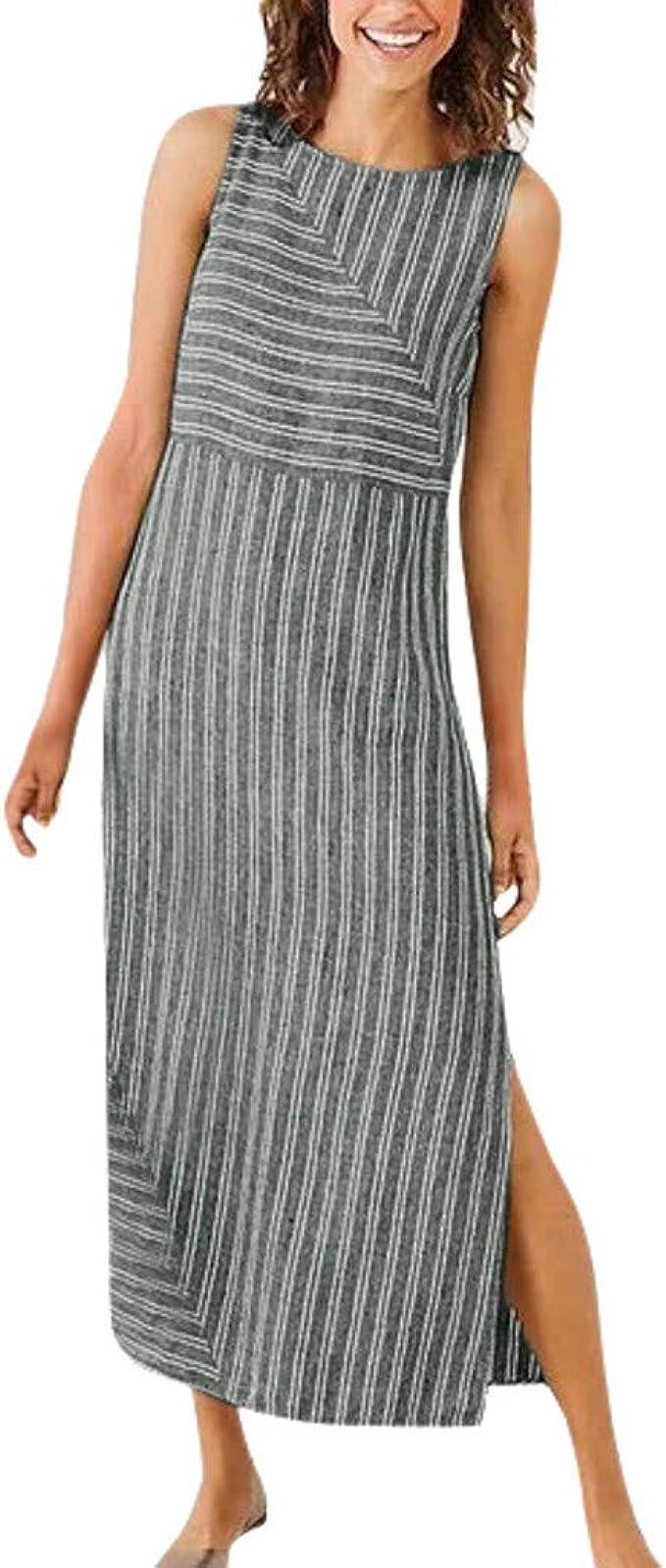 Damen Gestreift Taschen Freizeitkleid Riemchen Minikleid Sommerkleid Shirtkleid