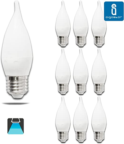 Pack de 10 Bombillas LED CL35 vela, 4W, casquillo gordo E27, 320 ...