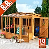 Westmount 8x8 FT (2.53 x 2.49 m) Wooden Combi Lean To Greenhouse and Shed Courtesy of Westmount Living