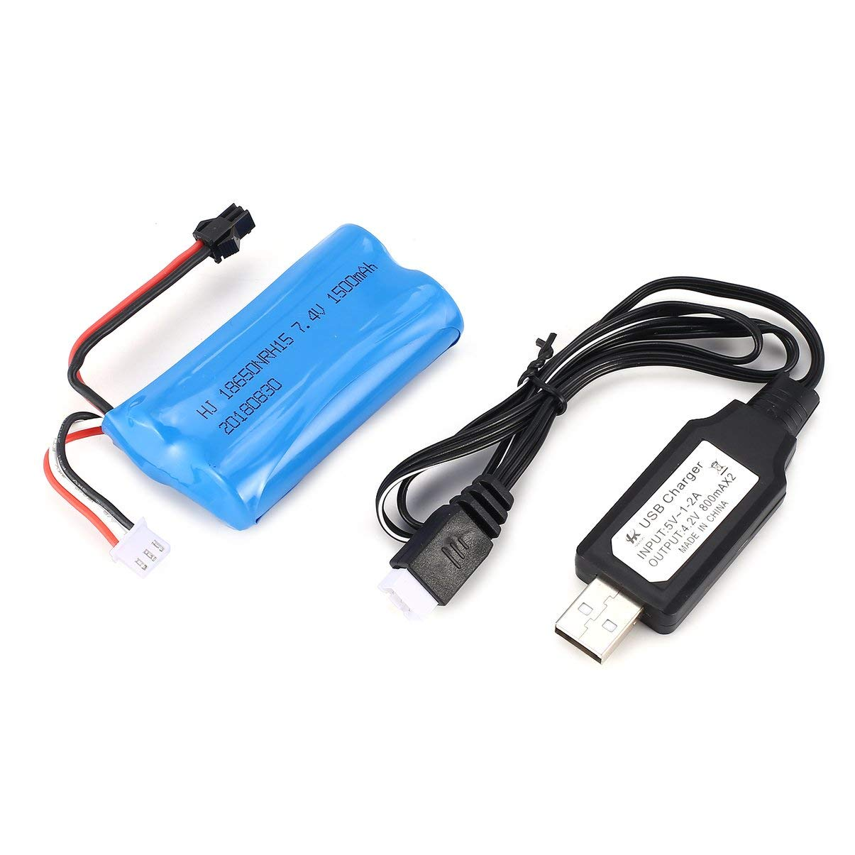 7.4V 1500mAh SM Plug Rechargeable Li-ion Battery with USB Charger for RC Boat Skytech H100 Syma Q1 Spare Parts Accessories JullyeleITgant