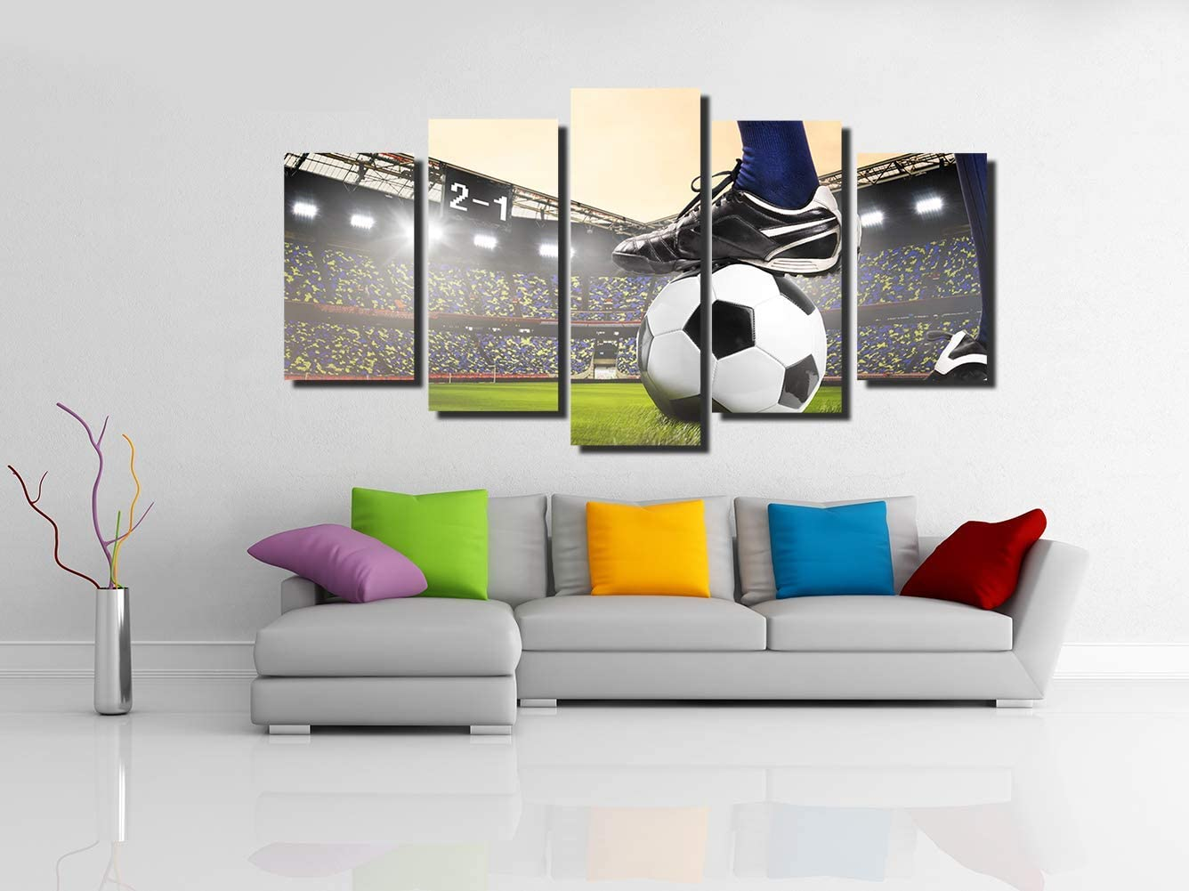 FONWAPAI Football Wall Art Canvas Painting,Sports Themed Living Room Decor,Gift for Kids,Easy to Hang Football-Grassland,Size S,Framed