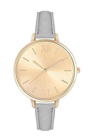 Mujer Reloj trenduhr Color Oro + Varios Colores Pulsera Beige Gris Negro Blanco Crema Rosa Cuero