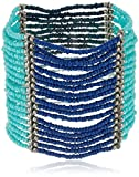 Turquoise and Blue Color Blocked Wide Silver-Tone Seed Bead Stretch Bracelet, 7