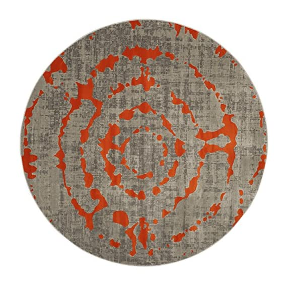 "Safavieh Porcello Collection PRL7735F Light Grey and Orange Round Area Rug (5'1"" Diameter) - The high-quality polypropylene pile fiber adds durability and longevity to these rugs The power loomed construction adds durability to this rug, ensuring it will be a favorite for many years The bright, modern style of this rug will give your room a elegant accent - living-room-soft-furnishings, living-room, area-rugs - 61zxVG%2BskgL. SS570  -"