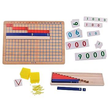 Magideal Montessori Addition Et Division Panneau Et Montessori Perles Carte Numerique Jouets De Calcul Pour Enfants