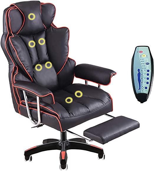 Amazon Com Computer Chair Luxury Office Chair Home Office Relaxing Chair Pu Leather Armchair 7 Point Massage High Back Desk Work Swivel Chair Black Red Massage Home Kitchen