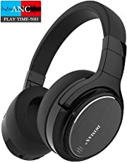 Noise Cancelling Headphones, Bluetooth Headphones, DOMAX M1 Wireless Over Ear Headset with 48 Hours Playtime, HiFi Stereo Noise Cancelling Headphones Built-in Mic Metallic Black