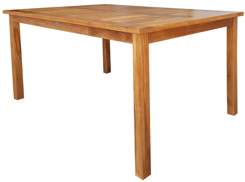 Amazon.com: Solid Teak Wood Bistro Rectangular Outdoor Patio Dining Table,  71