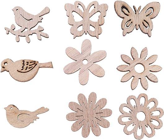 Amosfun 100pcs Ritagli di Legno Legno Uccello Farfalla fette di Fiori abbellimenti in Legno Tavolo coriandoli Decorazioni rustiche Ornamenti per Artigianato Fai da Te Fare Forniture