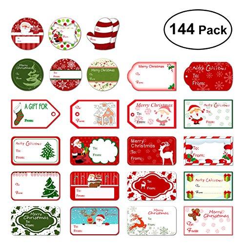 Amosfun Adhesivo de Navidad Pegatinas de etiqueta de regalo Santa muñecos de nieve Árbol de Navidad Ciervo Festival de...