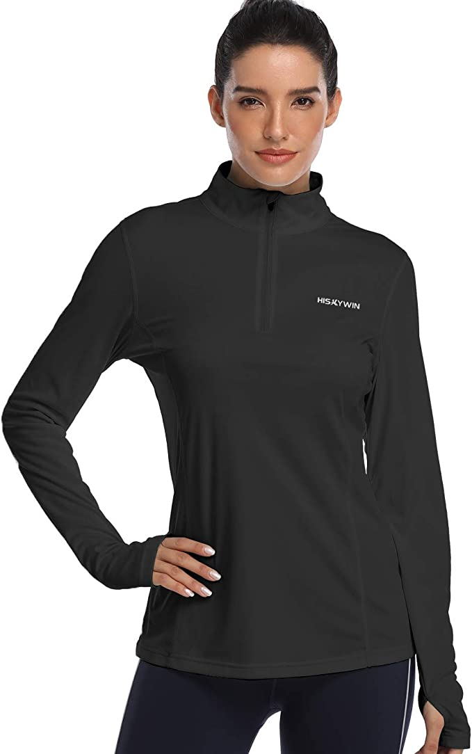UV Sun Protection Long Sleeve Shirts Outdoor Running Athletic Shirts Ogeenier Womens 1//4 Zip Pullover UPF 50