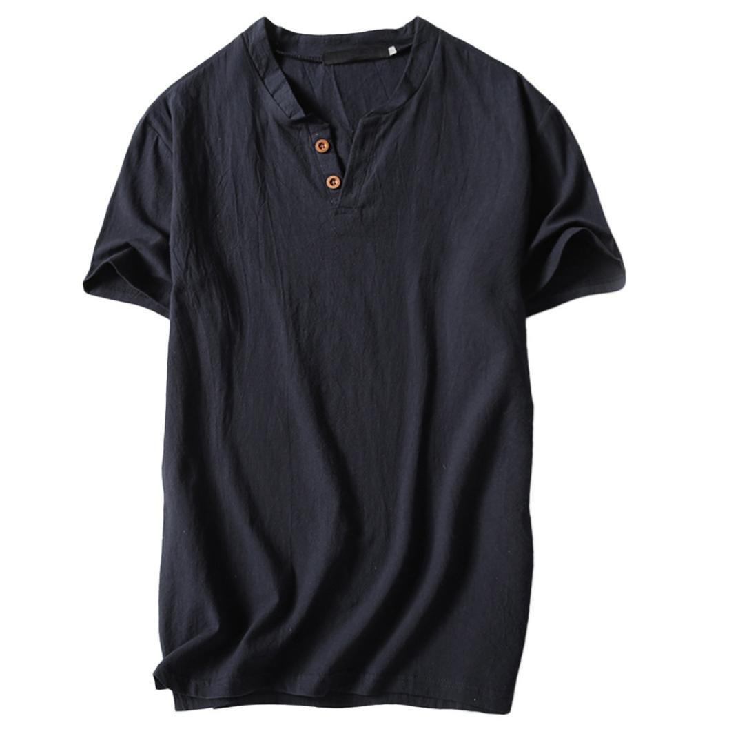 Beikoard Abbigliamento Casual Uomo T-Shirt con Scollo a V Maniche Corte in Cotone e Lino Casual da Uomo