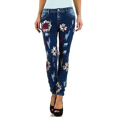 77d1708b1985 Schuhcity24 Damen Jeans Hose Jeanshose Damenjeans Used Look Pailletten Skinny  Röhre Röhrenjeans Bluejeans  Amazon.de  Bekleidung